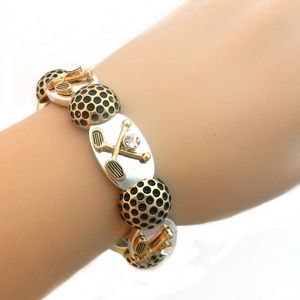 Jewelry - Stretch Bracelet GOLF Clubs & Balls Silver & Gold